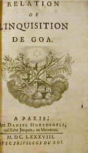 Relation de l`Inquisition de Goa, Charles Dellon, 1688 courte